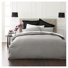 """Thames"" Hotel Style Striped Cotton Quilt Doona Cover & Pillowcase Set: Charcoal"