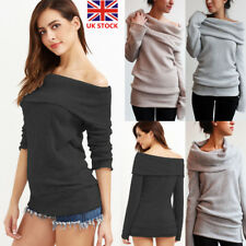 Women Off Shoulder Long Sleeve Knitted Sweater Hooded Pullover Jumper Tops