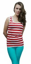 Womens Red And White Stripe Vest Top Ladies Fancy Xmas Party Top Book Week Dress