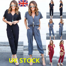 WomenV Neck Chiffon Jumpsuit Short Sleeve Playsuit Long Trousers Party Rompers
