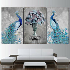 3 PCS Peacock Couple Flowers Wall art printing canvas modern hanging home decor