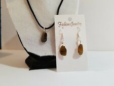 Handmade Tigers Eye Stone Necklace & Earrings Jewelry Set - Faux Suede Cord