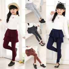 3-11Y Girls Kids Warm Solid Cake Culottes Leggings With Ruffle Tutu Skirt Pants