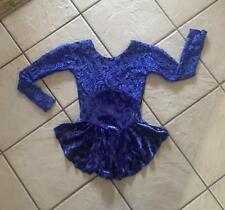 NEW Girls BLUE Crushed VELVET Lace SEQUIN Competition FIGURE ICE SKATING Dress