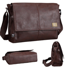 Sling Shoulder messenger bag Leather Men Briefcase 14 inch laptop case