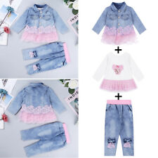 Toddler Baby Girls Clothes Outfit Baby Dress Tops+Pants+Jacket Spring 3PCS Set