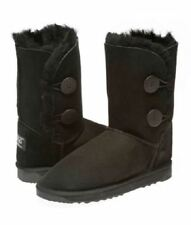 2 Button Australian Made Ugg Boots - Ladies Size/ Black
