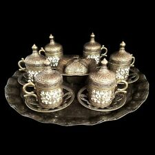 Ottoman Turkish Moroccan Bronze Brass Tea Coffee Saucers Cups Tray Set UK BASED