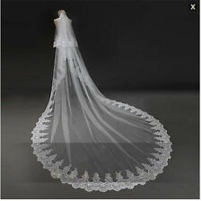 2T 3M White/Ivory Wedding Veil Lace Sequins Cathedral Bridal Veils + Comb CR231