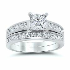 1 Carat Princess Cut CZ  Sterling Silver Wedding Engagement Ring Set
