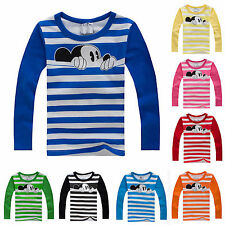 Kids Boys Girls Cartoon Mickey Mouse Long Sleeve T-Shirt Striped Tops Tee Blouse