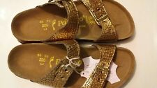 PAPILLIO LIC.BIRKENSTOCK - SYDNEY - CRACKED GOLD LEATHER - RRP $154 SAVE $36