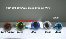 8 PAIR Glass Eyes SLIT PUPIL on WIRE 6mm, 7mm, 8mm, 9mm  Cat, Needle Felt SP-201