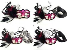 Feather Fuchsia Pink Masquerade ball mask Couple prom dance Mardi Gras Party NEW
