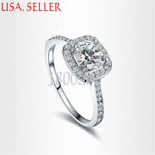 18K White Gold Filled 10mm wide Sparking Clear Crystal Ring Size 5/6/7/8/9 Y1220