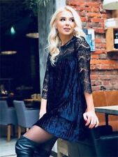 Women Velvet Material New Fashion O Neck Three Quarter Sleeve Mini Dress