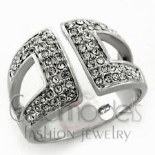 A158 SPARKLING SIMULATED DIAMOND 925 STERLING SILVER 14K WHITE GOLD PLATED RING