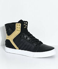 SUPRA SKYTOP EVO BLACK GOLD LEATHER & LYCRA MEN'S SHOES TONGUE STASH POCKET