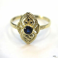 AMAZING 14K Solid Yellow Gold HANDMADE 3.5mm Blue Sapphire ROUND Vintage Jewelry