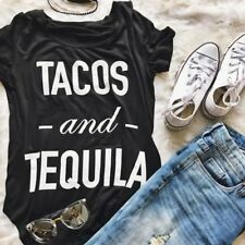 TACOS and TEQUILA Fashion Women Letter Print Short Sleeve Loose T-Shirt Tee Tops
