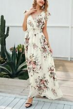 White Color Ruffle Backless Floral Print V Neck Bow Maxi Dress for Women
