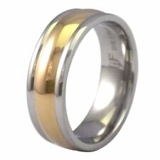 316L Surgical Stainless Steel Gold Tone Wedding Ring 7mm Wide Band Size 6.5-12
