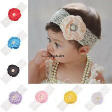 Multi-color Baby Girl Lace Imitate Pearl Flower Head Band Hair OO55