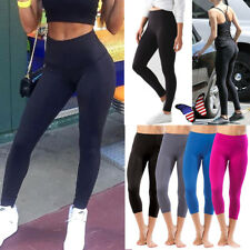 Womens Yoga Workout Gym Fitness Running Sports Capris Pants Stretch Trousers LQ