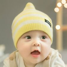 Cute Warm Baby Hat Knitted Cap Stripe Pattern Kids Infants Toddlers Gifts