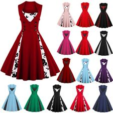 UK Womens Ladies Vintage 1950s Rockabilly Casual Retro Evening Party Swing Dress