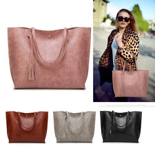 Women Shoulder Bag Handbag Tote Messenger Tassel Vintage PU Leather Shopper Hobo