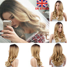 24'' Women Girl Long Curly Wavy Blonde Wig Front None Lace Cosplay Party Wig+Cap