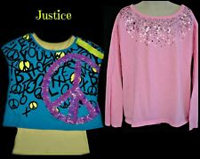 JUSTICE LONG SLEEVE PULLOVER TOP WITH SEQUINS or LAYERED LOOK PEACE TOP SZ 10