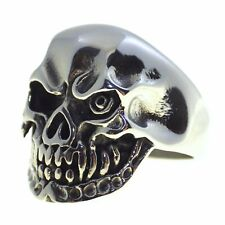 Mens Angry Pirate Biker Skull Ring 316L Surgical Stainless Steel Band
