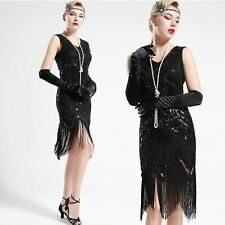 US Stock 1920s 20s Gatsby Jet Black glass beaded Fringe Flapper Dress