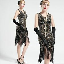 US Stock 1920s 20s Gatsby Black and Gold glass beaded Fringe Flapper Dress