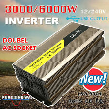 3000W Watt 6000W Max Power Inverter Pure Sine Wave 12V -240V CAMPING CAR CARAVAN