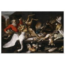Poster Print Wall Art entitled Still life with dead game, fruits, and vegetables