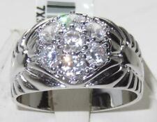 X310 MANS DERBY RING CLUSTER 3CT SIMULATED DIAMOND MENS RING SIGNET PINKY SIZE W