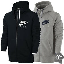 Nike Air Fleece Hooded Top Full Zip Hoodie Heritage Mens Hoodie Grey