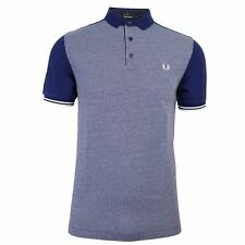 FRED PERRY POLO SHIRT MENS RICH NAVY JACQUARD PANEL TOP