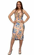 Peach Couture Womens Floral Print Sleeveless Pleat Fabric Bodycon Dress