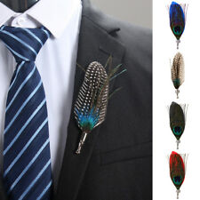 Men's Women's Vintage Peacock Feather Wedding Suit Corsage Lapel Pin Brooch