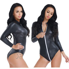 Women's Faux Leather Zippered Jumpsuit Bodysuit Catsuit Clubwear Gothic Costume