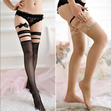 Women Ladies Sexy Lace Fishnet Top Thigh High Hold-up Stockings Long Socks