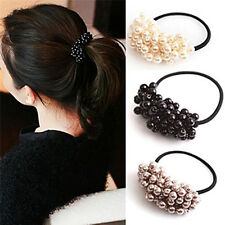 Pearl Acrylic Beads Elastic Hair Accessory Band Ring Rope Ties Ponytail Holder J