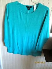 AUGUST SILK LADIES SWEATER KNIT TOP SIZES S. M. L. BLUE NWT