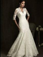 New White Ivory Sleeves Train Lace Wedding Dress 2 4 6 8 10 12 14 16 18 20 H94GH