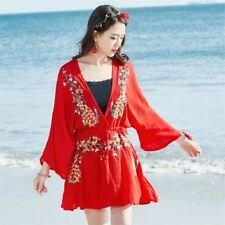 Women V Neck Black Red Color Floral Embroidery Casual Wear Loose Mini Dress