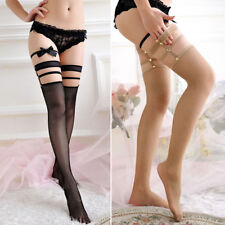 Woman Lace Sexy Stockings Thigh High Hold-up Fishnet Top Punk Hollow Long Socks
